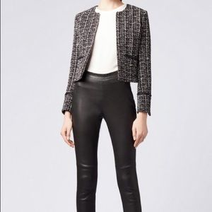 Ann Taylor Cropped Tweed Blazer with 3/4 Sleeves